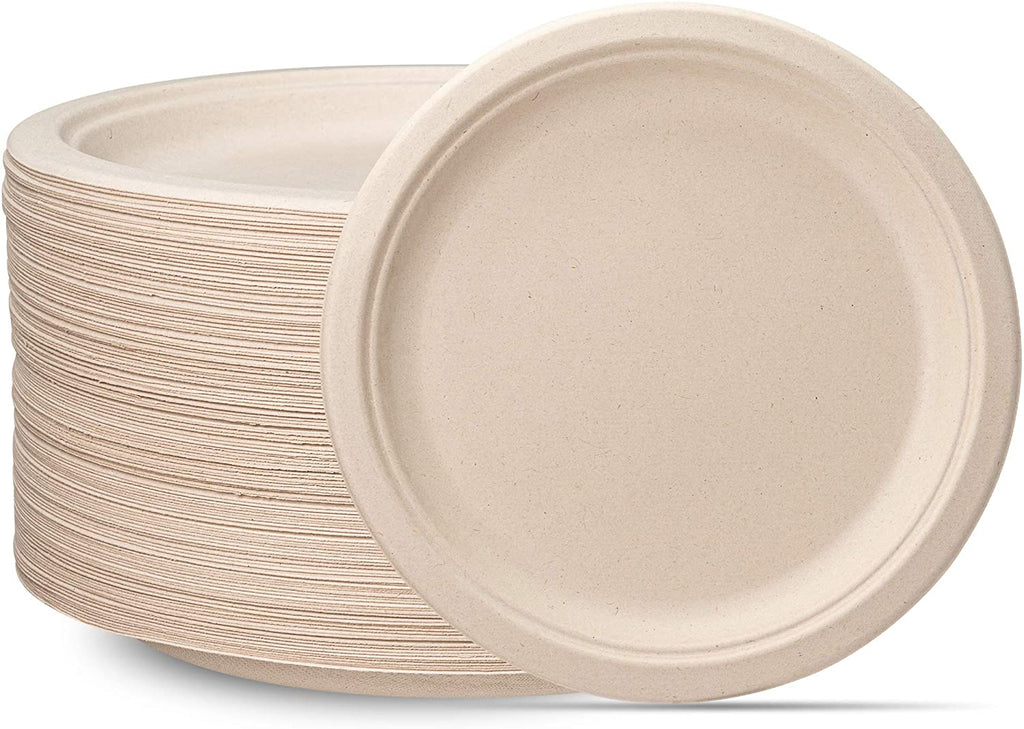 100% Compostable 10 Inch Heavy-Duty Plates [125 Pack] Eco-Friendly Disposable Sugarcane Paper Plates - Brown Unbleached