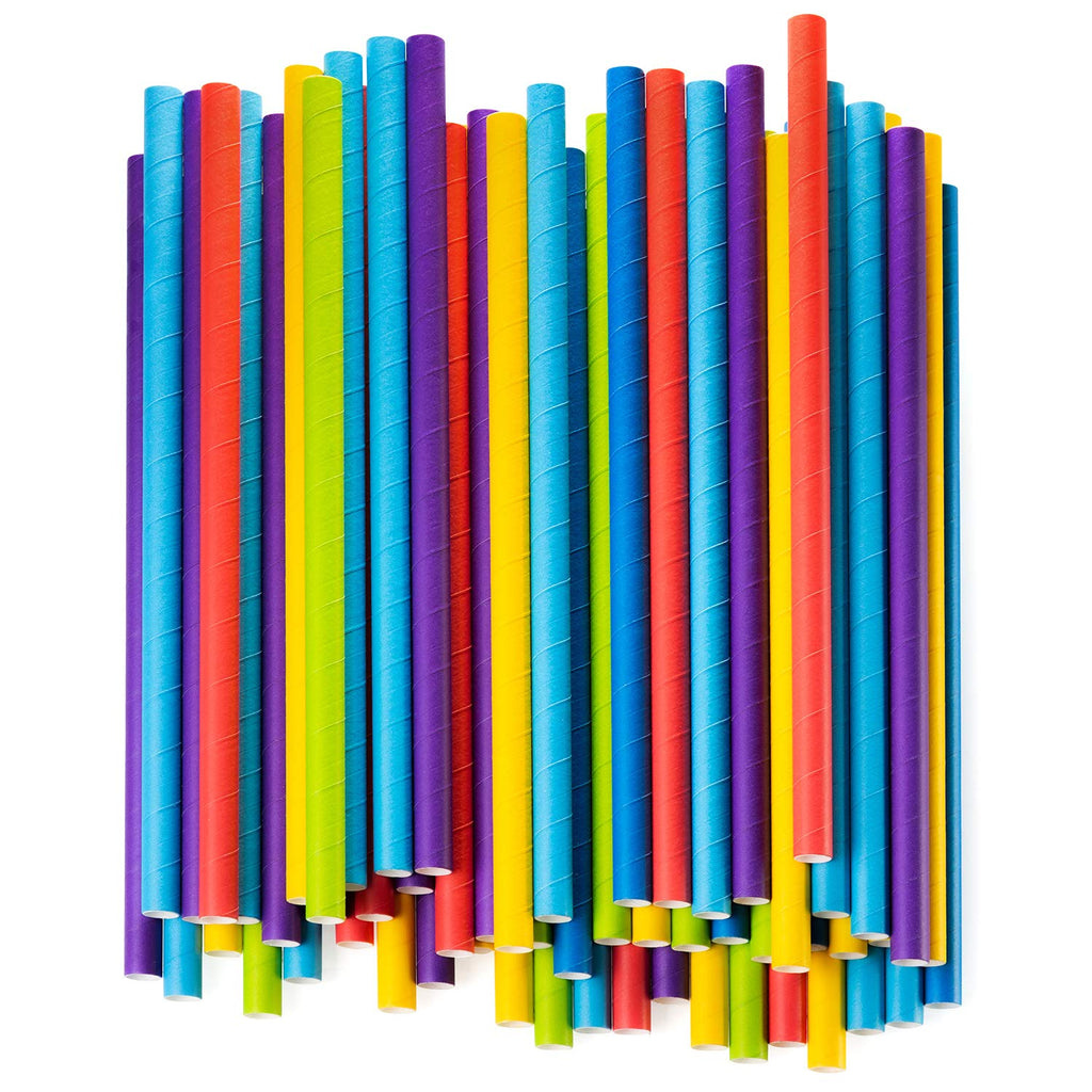 Paper Jumbo Smoothie Straws,100% Biodegradable Assorted Colors - Comfy Package