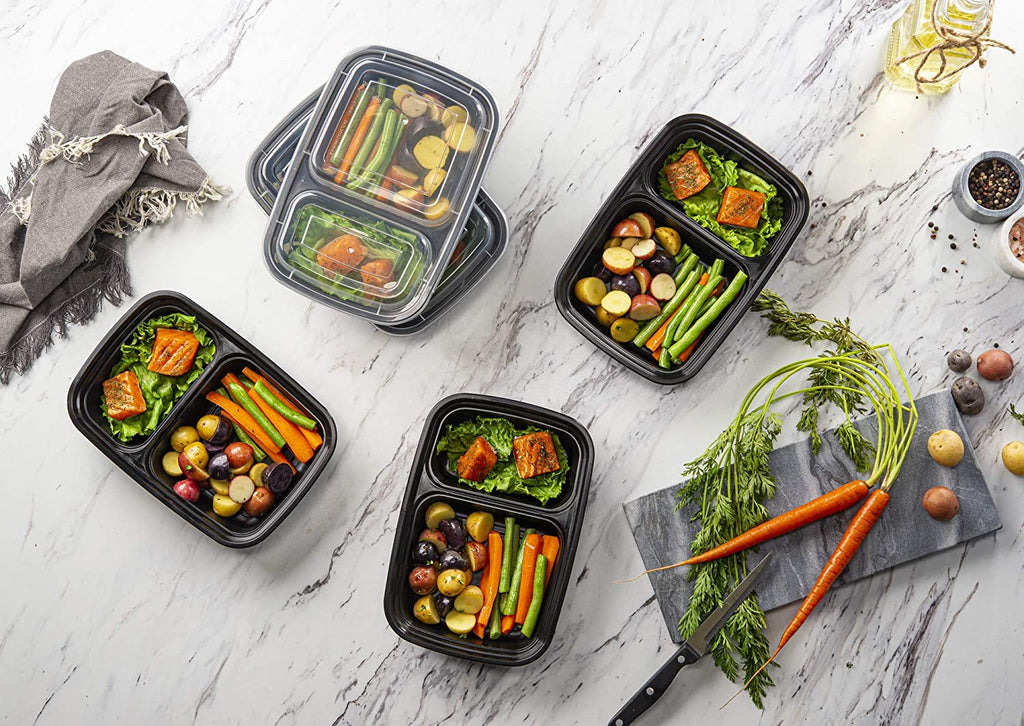 28 oz. Meal Prep Containers With Lids, 2 Compartment Lunch Containers, Bento Boxes, Food Storage Containers