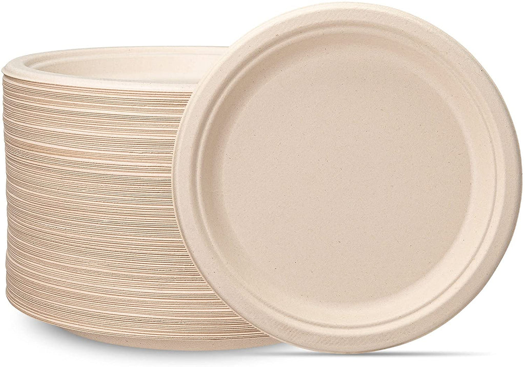 100% Compostable 9 Inch Heavy-Duty Plates [125 Pack] Eco-Friendly Disposable Sugarcane Paper Plates - Brown Unbleached