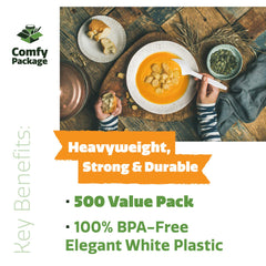 [500 Pack] Extra Heavyweight Disposable White Plastic Soup Spoons - Comfy Package