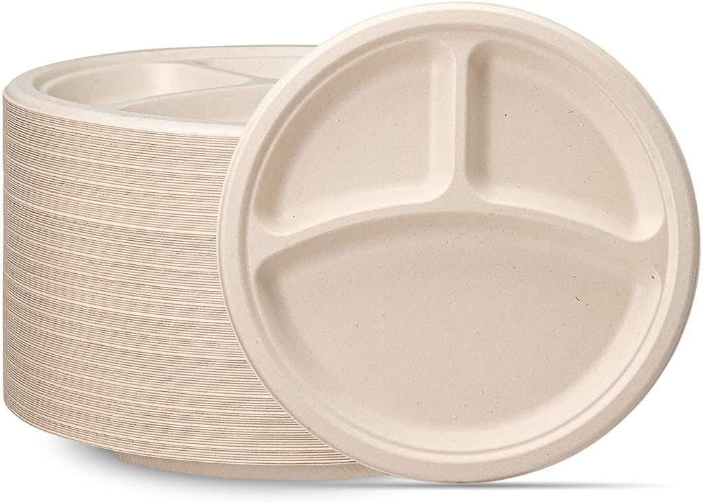 100% Compostable 10 Inch Heavy-Duty Plates [125 Pack] 3 Compartment Eco-Friendly Disposable Sugarcane Paper Plates- Brown Unbleached