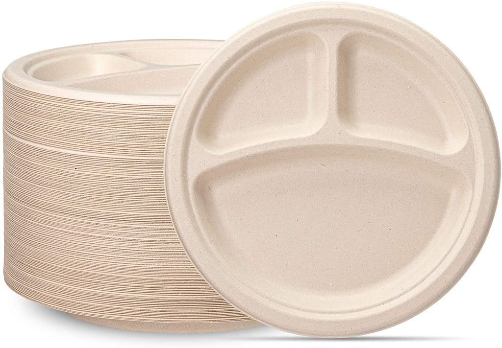 100% Compostable 9 Inch Heavy-Duty Plates [125 Pack] 3 Compartment Eco-Friendly Disposable Sugarcane Paper Plates- Brown Unbleached