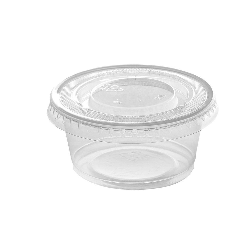Plastic Disposable Portion Cups With Lids [100 Sets] Souffle Cups