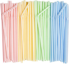Comfy Package Striped Flexible Drinking Straws