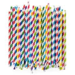 Paper Drinking Straws 100% Biodegradable - Assorted Colors - Comfy Package