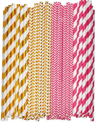 Pink & Rose Gold Paper Drinking Straws 100% Biodegradable Multi-Pattern Party Straws