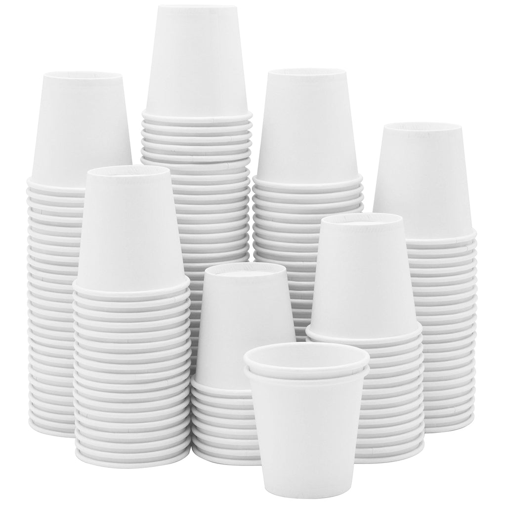3 oz. White Paper Cups, Small Disposable Bathroom, Espresso, Mouthwash Cups
