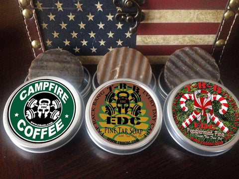 TRB EDC All Natural Pine Tar w/ Tea Tree Oil Beard & Body Bars. Campfire Coffee, Pine Tar and Peppermint Pine.