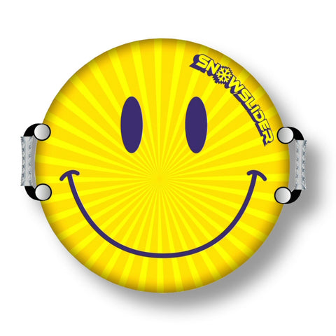 "SnowSlider 23"" Classic Spinner Smiley Face Snow Disc Sled - Winter Backyard"