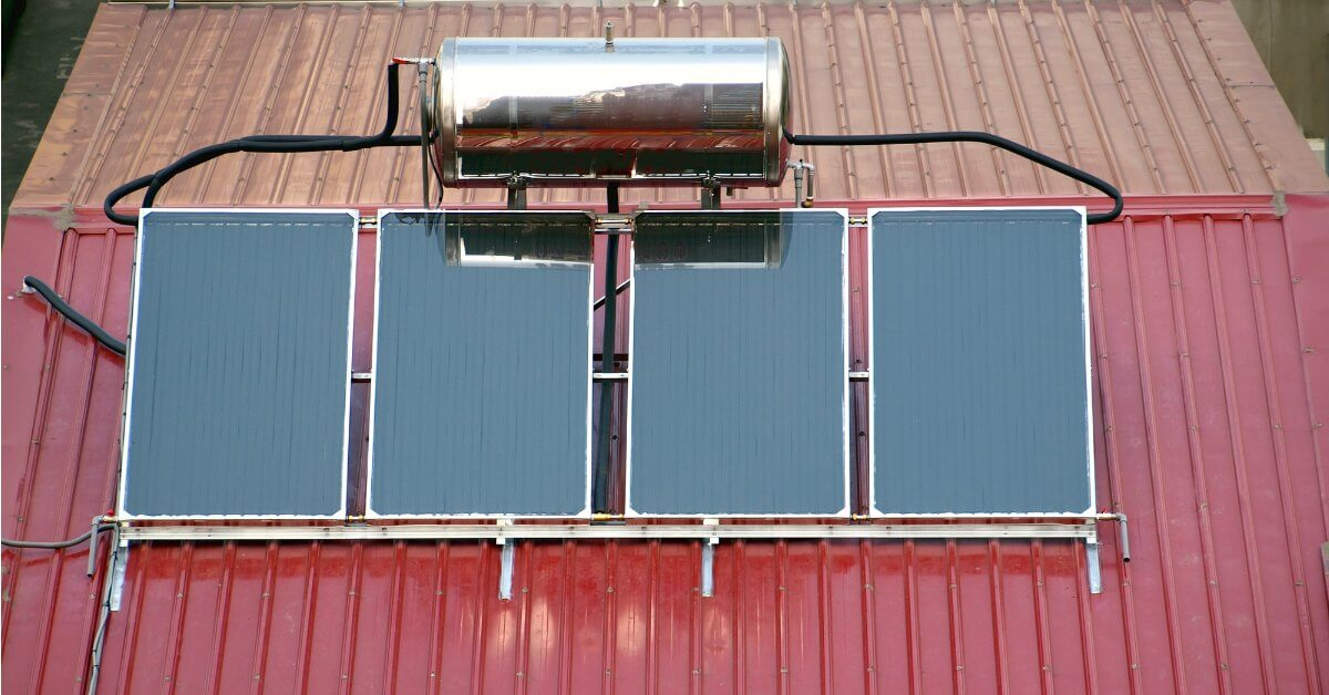 Solar Water Heating System on Roof
