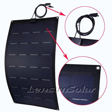 Image of Lensun® 100W Sunpower 12V Black Flexible Solar Panel - Fiberglass Back Sheet