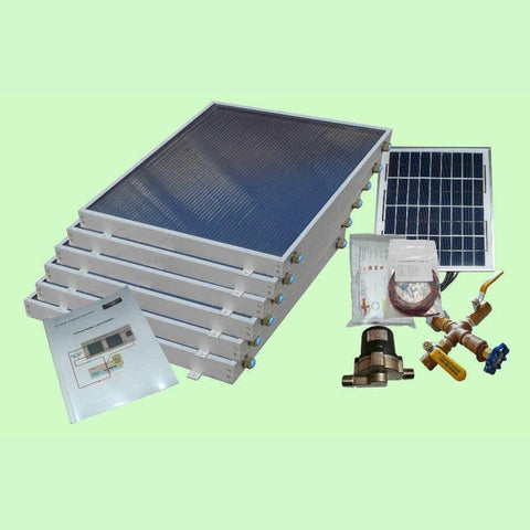 Image of Solar Water Heater System 6-panels EZ-Connect Kit from Heliatos Solar