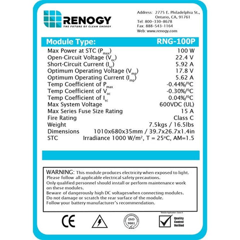 Image of 100W Polycrystalline Solar Panel From Renogy - 12V