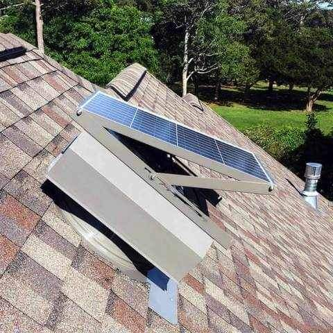 Image of 40 Watt Self Flashing Solar Attic Fan With Attached Solar Panel from Attic Breeze