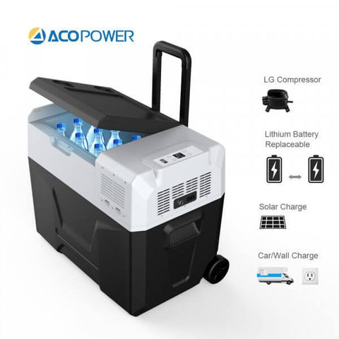 Image of ACOPOWER R40A Portable Solar Fridge Freezer for Car and Outdoor, w/Lithium Battery Rechargeable with Solar/AC/DC/Car Port (42 Quarts)