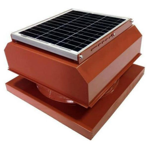Image of Curb Mount 30 Watt Attached GEN 2 Solar Attic Fans From Attic Breeze AB-3042A - Terra Cotta