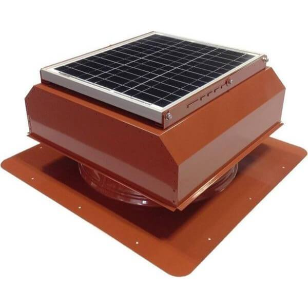 Self-Flashing 20 Watt Attached GEN 2 Solar Attic Fans From Attic Breeze AB-2022A - Terra Cotta