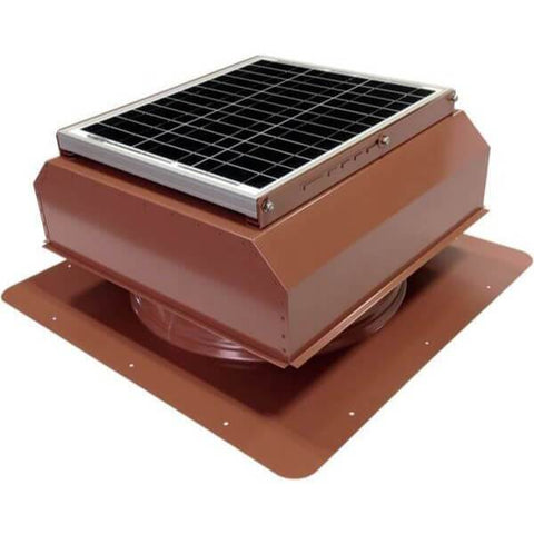 Image of Self-Flashing 30 Watt Attached GEN 2 Solar Attic Fans From Attic Breeze AB-3022A - Hickory