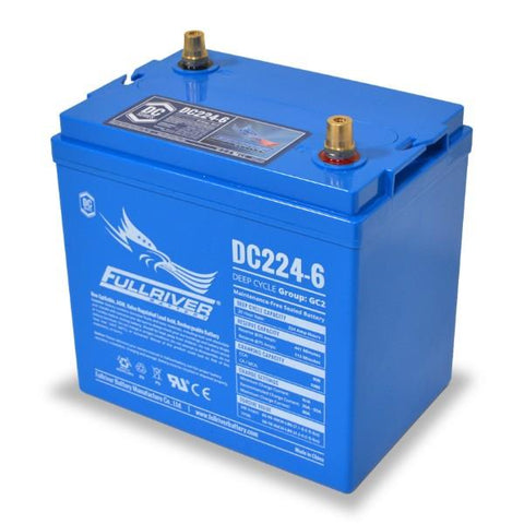 Fullriver 224 Amp Hours (@ C/20) 6 Volt AGM Sealed Lead Acid Battery DC224-6 - quarter tilted