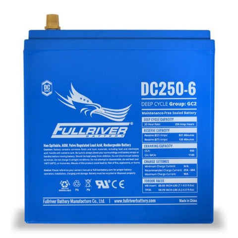 Image of Fullriver 250 Amp Hours (@ C/20) 6 Volt AGM Sealed Lead Acid Battery DC250-6