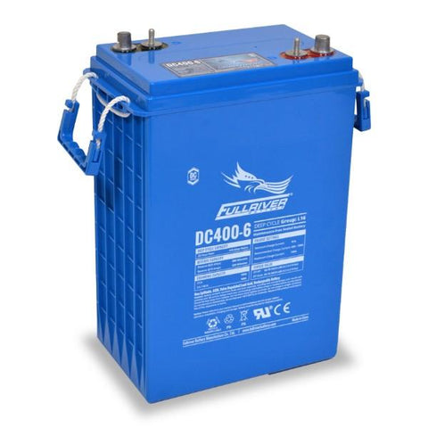 Fullriver 415 Amp Hours (@ C/20) 6 Volt AGM Sealed Lead Acid Battery DC400-6