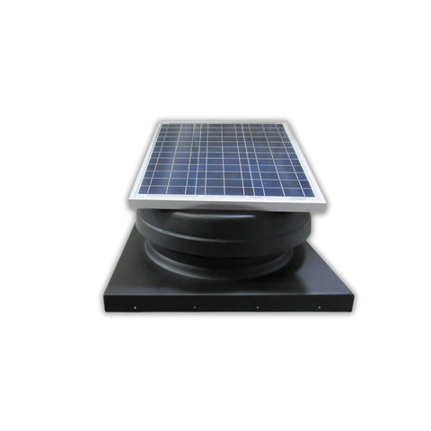 Elite 30W Solar Attic Exhaust Fan Adj. Panel Tilted Front View-Curb Flashing