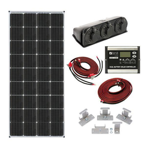 Image of Zamp Solar 170W Dual Battery Bank Roof Mount Kit