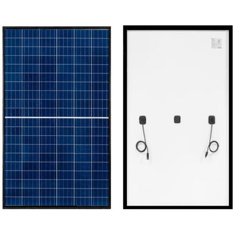 REC 290 Watts Polycrystalline TwinPeak2 Series Solar Panel with Black Frame & White Back Sheet REC290TP2 - Front & Back