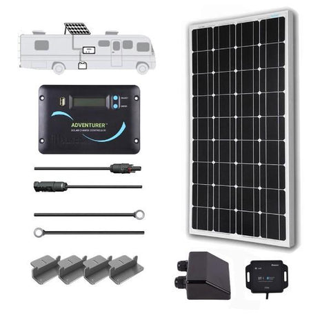 Image of Renogy 100 Watt 12 Volt Monocrystalline Solar RV Kit