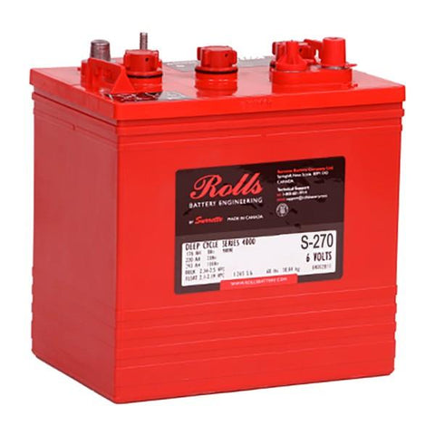 Rolls 210 Amp Hours (@ C/20) 6 Volt Flooded Lead Acid Battery S-270