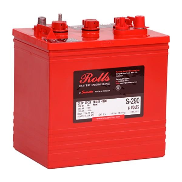 Rolls 230 Amp Hours (@ C/20) 6 Volt Flooded Lead Acid Battery S-290