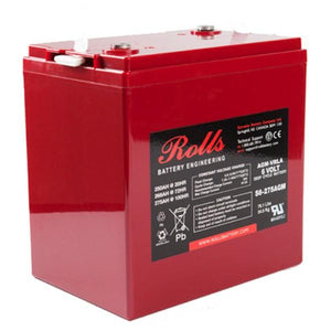 Rolls 250 Amp Hours (@ C/20) 6 Volt Sealed AGM Battery S6-275AGM