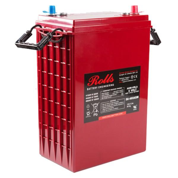 Rolls 415 Amp Hours (@ C/20) 6 Volt Sealed AGM Battery S6-460AGM
