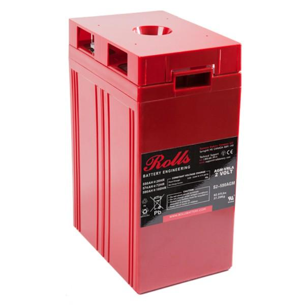 Rolls 550 Amp Hours (@ C/20) 2 Volt Sealed AGM Battery S2-590