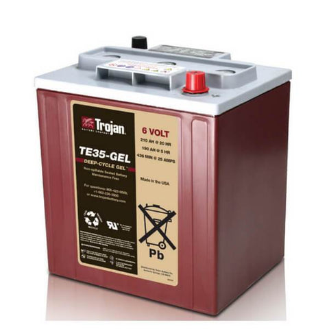 Trojan 210 Amp Hours (@ C/20) 6 Volt Gel Deep Cycle Battery TE35-GEL