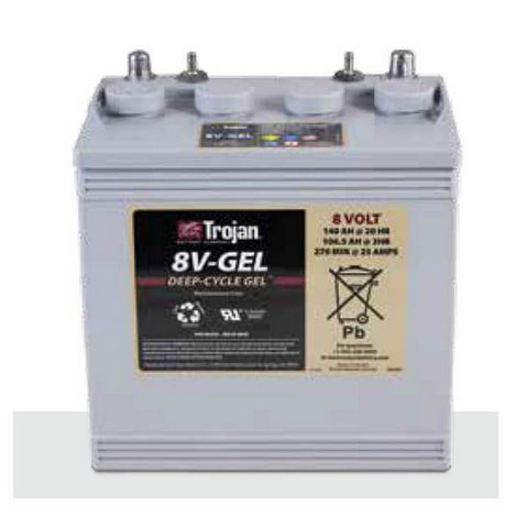 Trojan 140 Amp Hours (@ C/20) 6 Volt Gel Deep Cycle Battery 8V-GEL