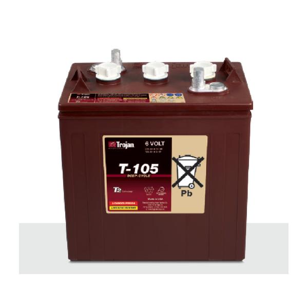 Trojan 225 Amp Hours (@ C/20) 6 Volt Flooded Lead Acid Battery T-105