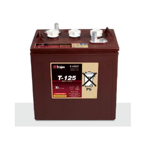 Trojan 240 Amp Hours (@ C/20) 6 Volt Flooded Lead Acid Battery T-125