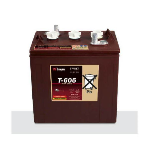 Trojan 210 Amp Hours (@ C/20) 6 Volt Flooded Lead Acid Battery T-605