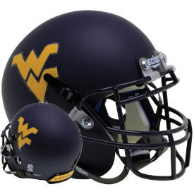 West Virginia Mountaineers Country Roads Bumper Schutt XP Authentic Mini Football Helmet