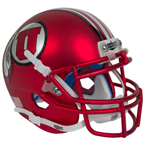 Utah Utes Satin Red 2017 Chrome Decal Schutt XP Authentic Full Size Football Helmet