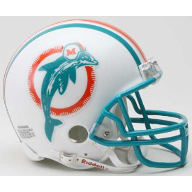 Miami Dolphins Riddell VSR-4 Throwback 80-96 Mini Football Helmet