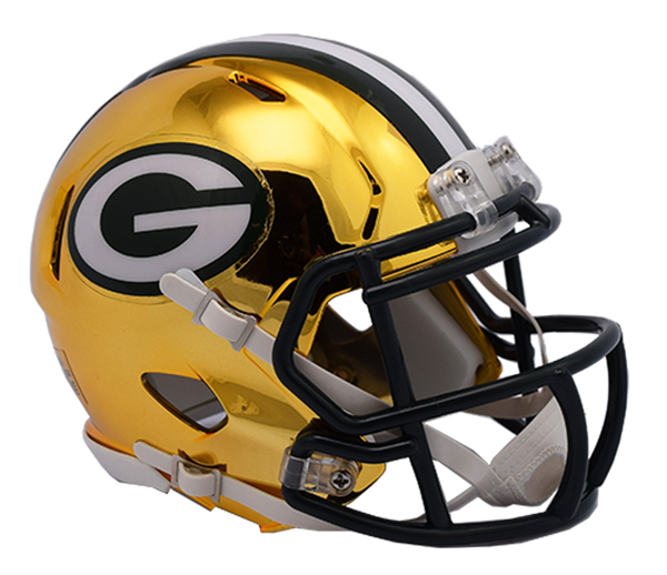 Green Bay Packers CHROME Riddell Speed Mini Football Helmet