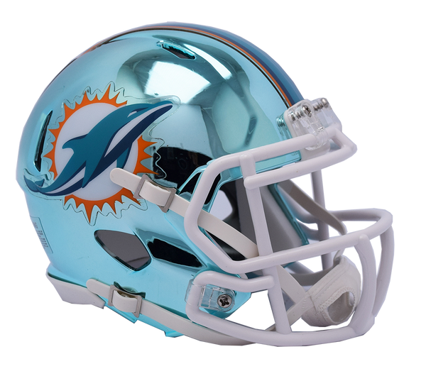 Miami Dolphins CHROME Riddell Speed Mini Football Helmet