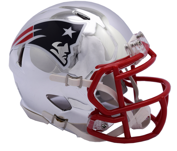 New England Patriots CHROME Riddell Speed Authentic Full Size Football Helmet  ***PRE ORDER ONLY***
