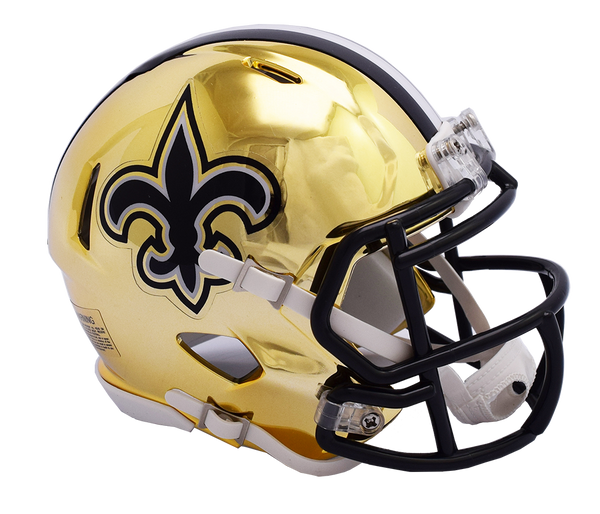 New Orleans Saints CHROME Riddell Speed Authentic Full Size Football Helmet  ***PRE ORDER ONLY***