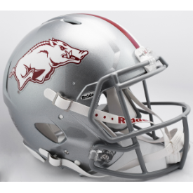 Arkansas Razorbacks Silver w/Gray Mask Riddell Speed Authentic Full Size Football Helmet