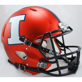 Illinois Fighting Illini Orange White I Riddell Speed Authentic Full Size Football Helmet