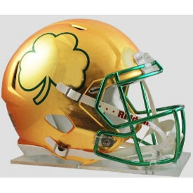 Notre Dame Fighting Irish Gold Shamrock Riddell Speed Authentic Full Size Football Helmet